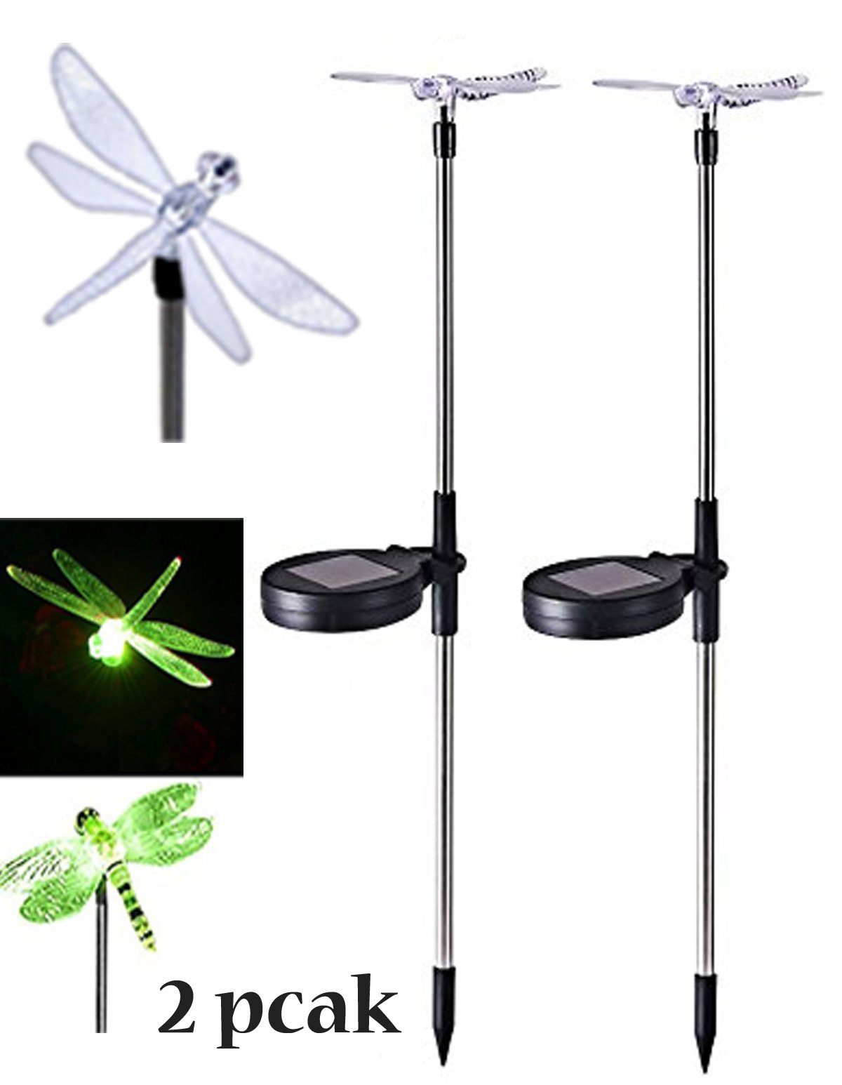 2 Pack~Solar Stake Light~Outdoor Garden Front-door Lawn Path light, In-ground Lights~Dragonfly Multi-color Changing LED Light~ We Pay Your Sales Tax LS02019