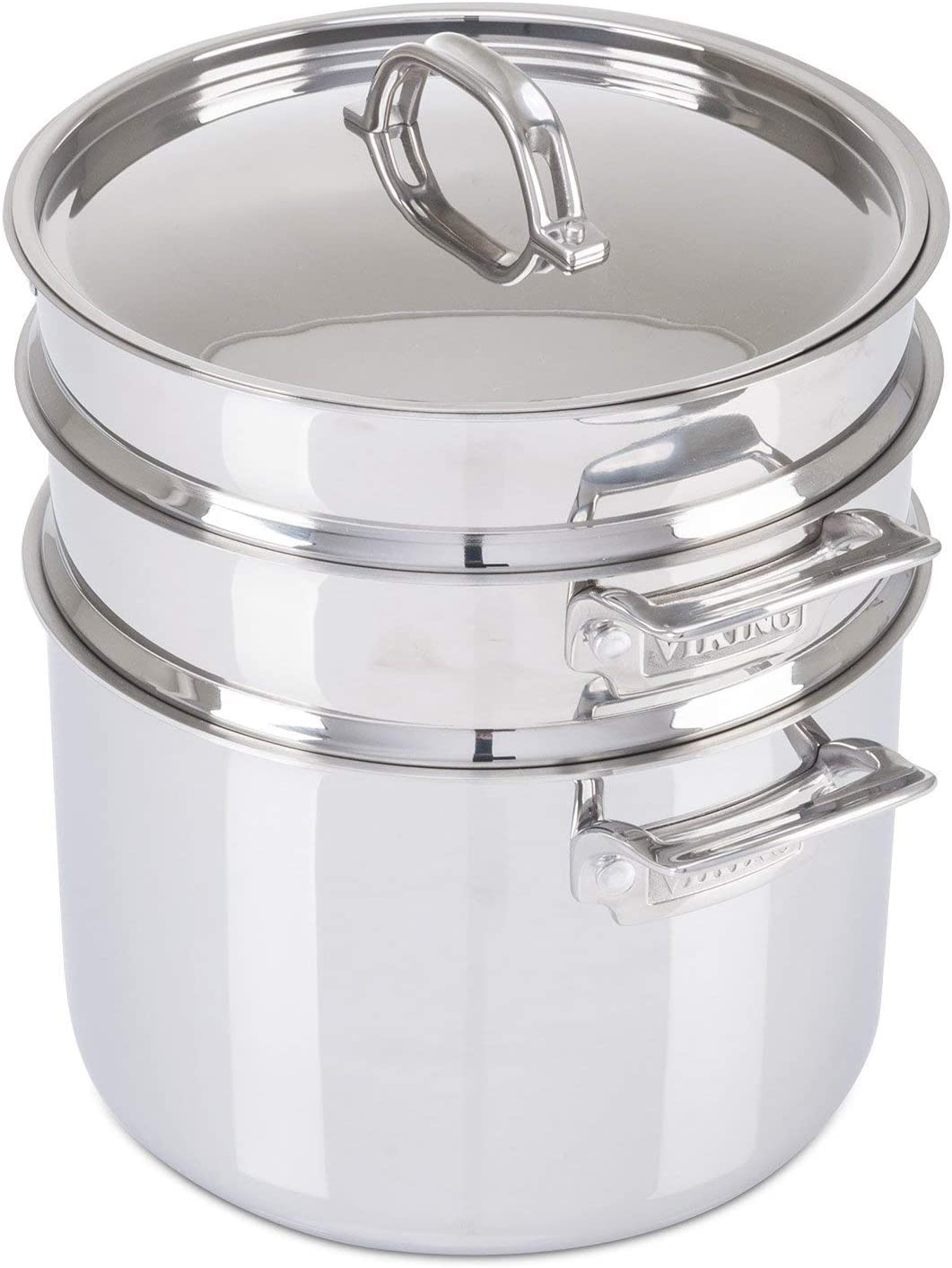 Viking 3-Ply Stainless Steel Pasta Pot with Steamer, 8 Quart (Renewed)