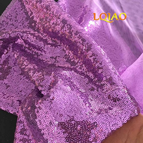 Shimmer Lavender - LQIAO 1Yard Lavender Sequin Fabric Shimmer Sequin Fabric Photography Sequin Fabric By The Yard for Sewing Costume Wedding Dress Tablecloth DIY