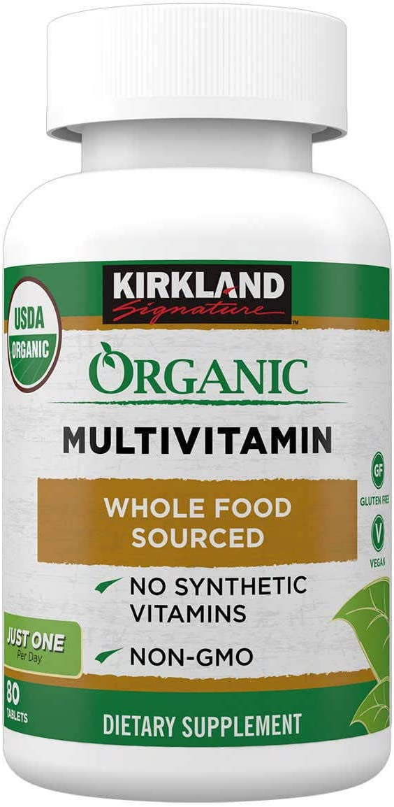 Kirkland Signature Expect More Organic Multivitamin, 80 Coated Tablets