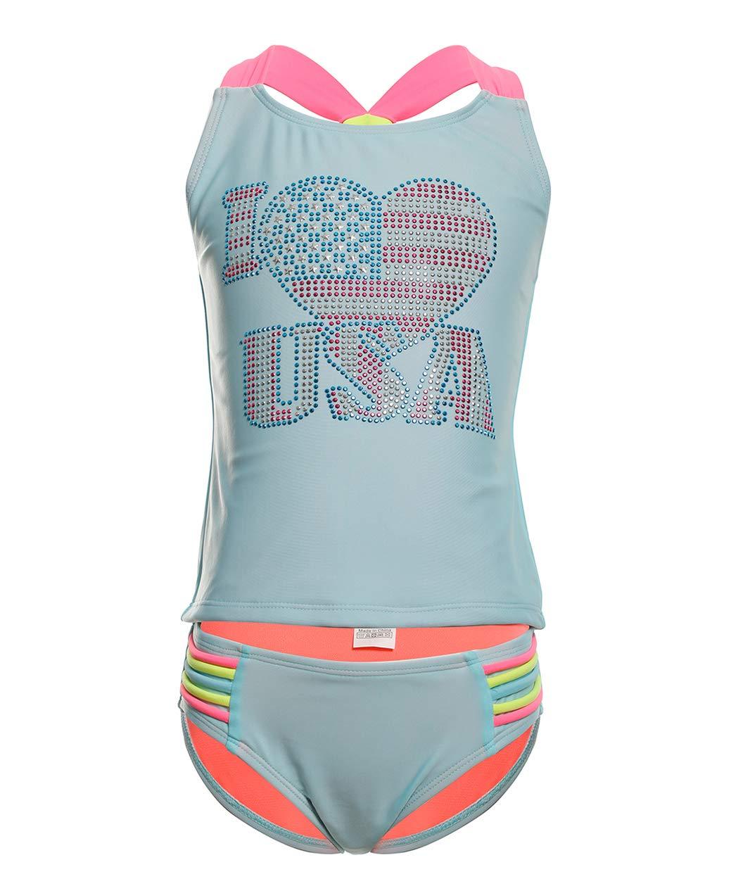 BELLOO Kids Girls Two Pieces Swimsuits, Tankini Set Swimwear Lightblue, Size 4-5