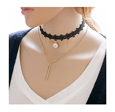 Amazoncom Leefi Womens Cross Pendant Choker Necklace Black Velvet