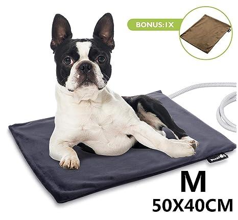 Pecute Manta Eléctrica para Perro, Almohadilla térmica Mascotas, Temperatura Constante Automática 38-40°, Impermeable, Prevención de Incendios, ...