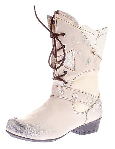 TMA Damen Winter Stiefel 8166 echt Leder Schuhe gefüttert Comfort Boots Weiß  Creme Animal Print Gr fbcb65bfbd