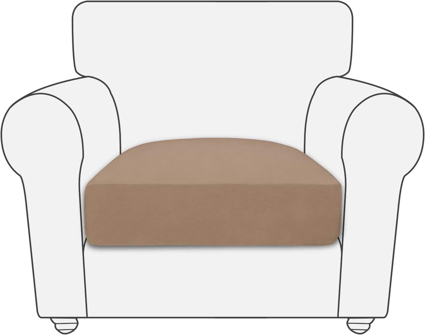 PureFit Stretch Fleece Non-Slip Sofa Couch Cushion Covers - Removable Chair Seat Covers for Dogs, Washable Elastic Furniture Slipcovers Protector for Kids and Pets (Chair, Camel)