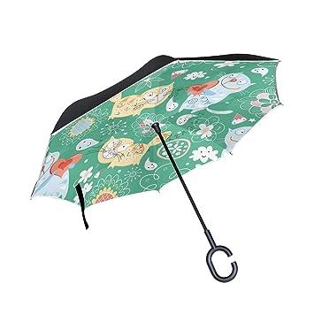 ALINLO Paraguas invertido Dibujos Animados y Gatos con impresión Floral, Doble Capa, Paraguas inverso