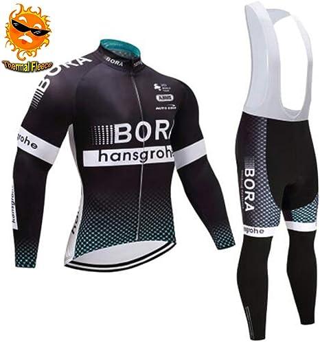 ADKE Completo Maglia Ciclismo da Uomo Pantaloni Lunghi da Ciclismo Imbottiti Invernale Maglie Ciclismo Maniche Lunga