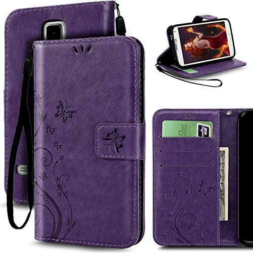 Samsung Galaxy S7 Butterfly Card Slot Case-Aurora Purple PU Leather Soft Smooth Floral Wallet Kickstand Case for Samsung Galaxy S7 Sales