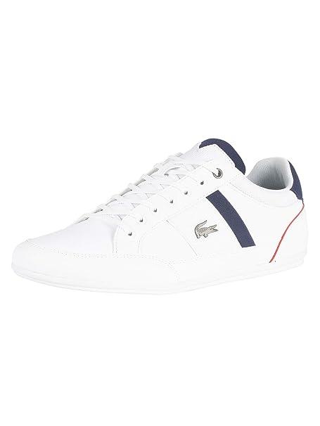 Lacoste - Zapatillas de Algodón para Hombre Blanco Blanco, Color Blanco, Talla 47: Amazon.es: Zapatos y complementos