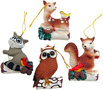 Amazon Com Westmon Works Woodland Animal Ornament Set Christmas Tree Holiday Decoration With Deer Owl Squirrel And Raccoon Set Of 4 Furniture Decor