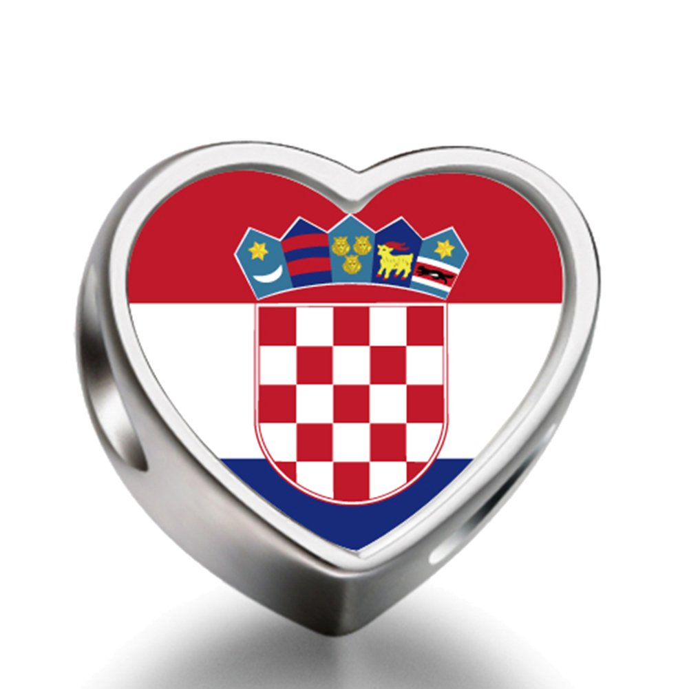Croatia flag Heart 92.5 Solid Sterling Silver Delicated Charms Bracelet Necklace Beads Waist Beads 6mm Hole Craft Metal Beads floating Charms for Women Charm Life