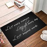 23.6 x 15.7 Inch Live Every Moment Laugh Every Day Love Beyond Words - Door Mats Kitchen Floor Bath Entrance Rug Mat Absorbent Indoor Bathroom Decor Doormats Rubber Non Slip Grey