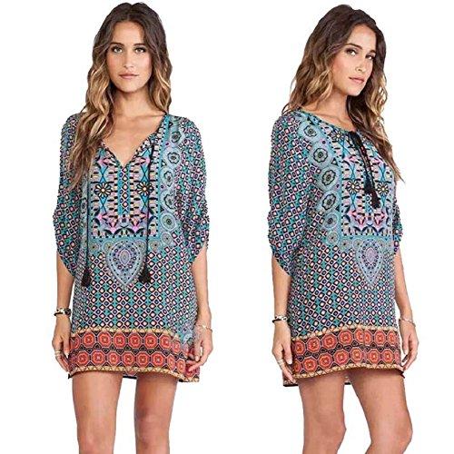 verano Vintage flojo Culater® Patrón vestido Imprimir Mujeres de SCZqFPx