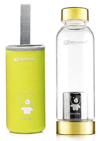 Portátil con estilo TIANXI botella de agua de vidrio borosilicato Real al aire libre viaje aislante