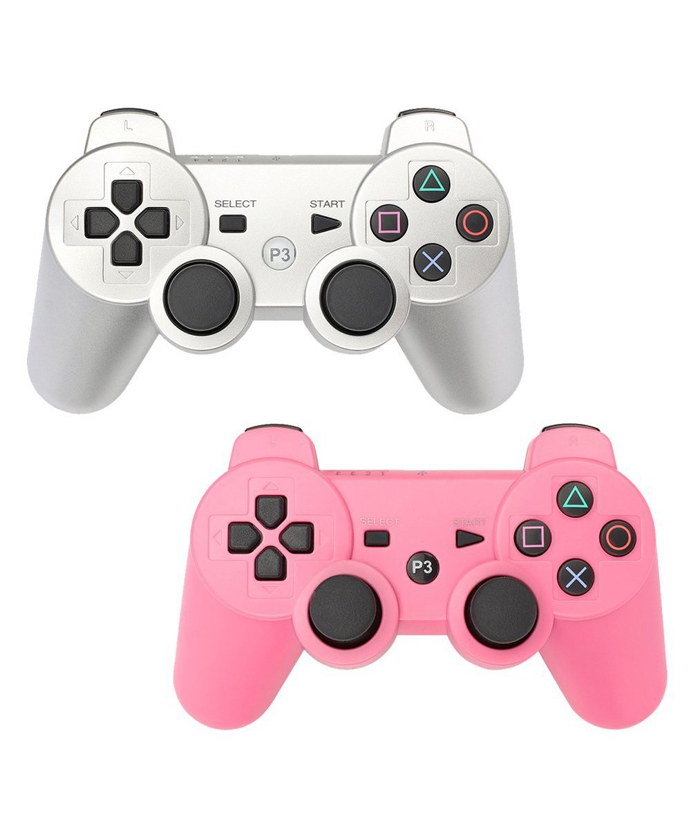 HBetterTech PS3 Controller 2 Pack Wireless Bluetooth Six Axis Controllers Gamepad for PlayStation 3 Dualshock 3 (1Siver + 1Pink)