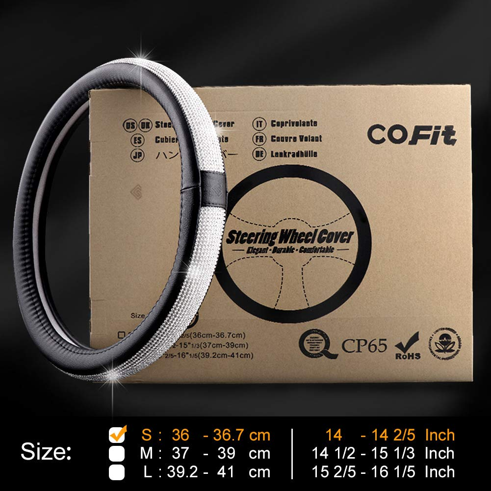 Noir COFIT Couvre Volant en Cuir Microfibre Respirant et antid/érapant Universel M 37-39cm