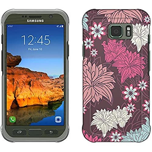 Samsung Galaxy S7 Active Case, Snap On Cover by Trek Colorful Lillies on Brown Slim Case Sales