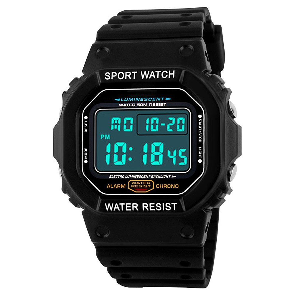 SKMEI Digital LED impermeable Multifuncional Chicos Deporte Relojes de Pulsera para Hombres Negro (Negro): Amazon.es: Relojes