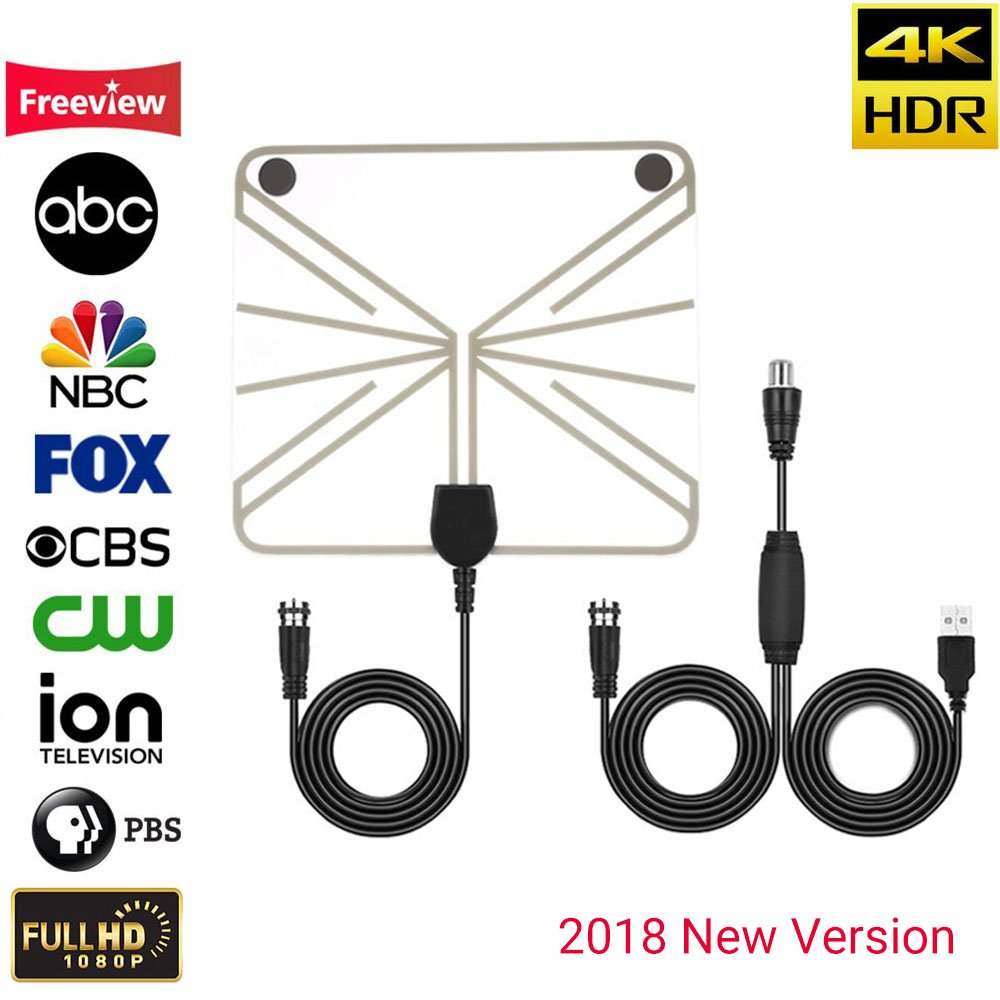 [2018 NEWEST] JEYINKER Amplified HD Digital TV Antenna with Long 80 Miles Range Thicker Coaxial USB Cable-Support All Smart TV,1080p 4K Channels by JEYINKER