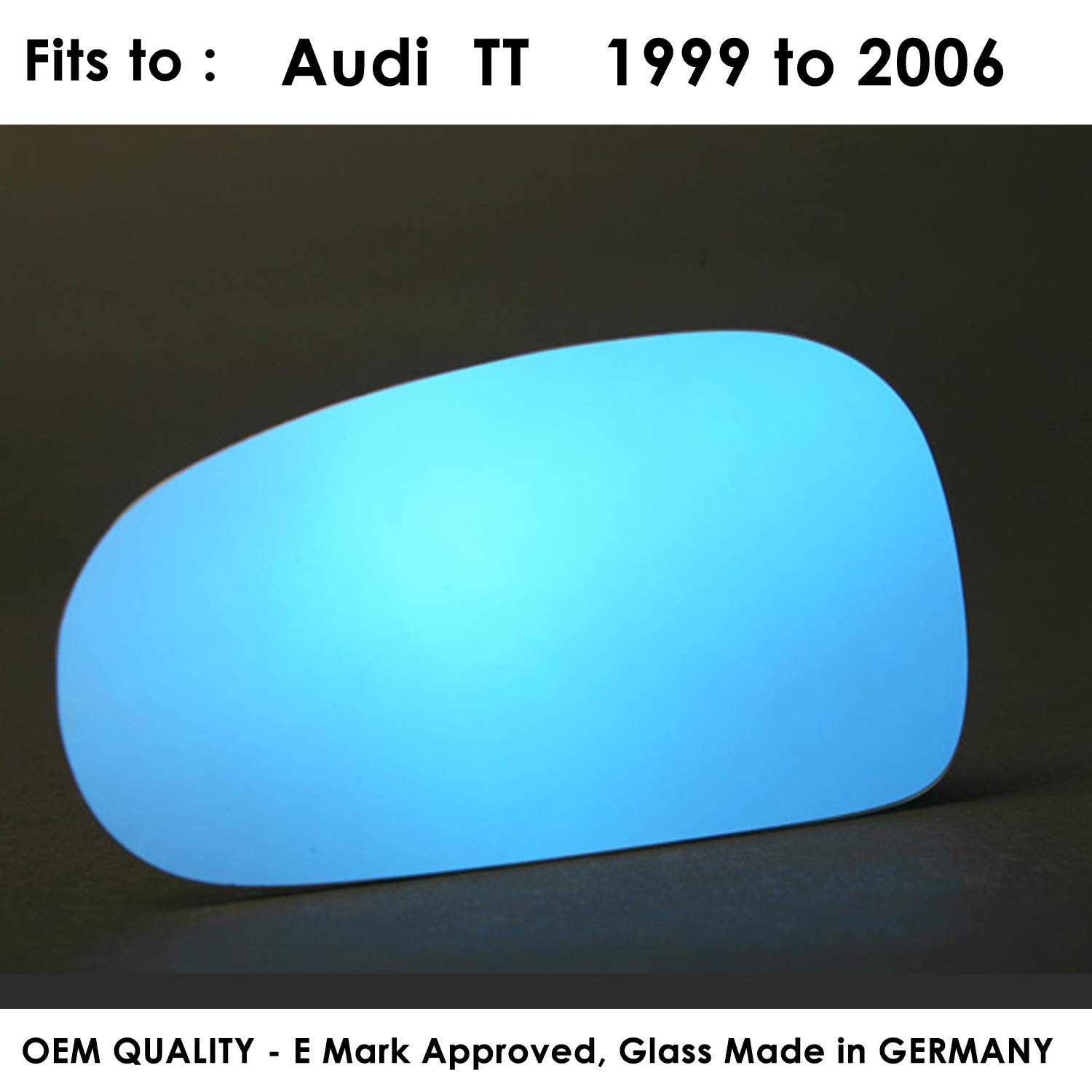 TT LEFT SIDE Wing Mirror Glass Blue Tinted, Convex 1999 to 2006