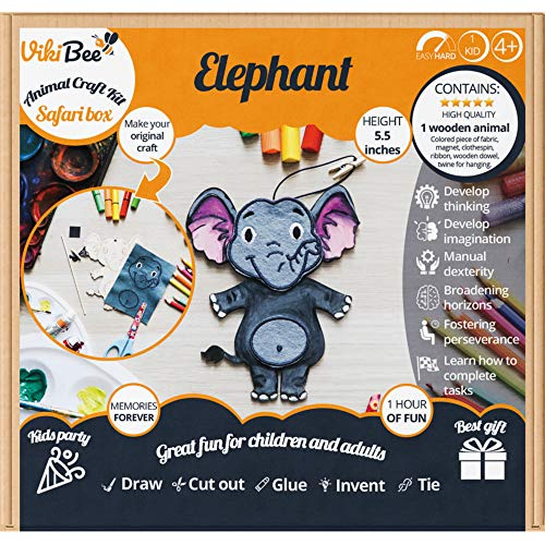 VikiBee Safari Animals Wooden Crafts Elephant - Unfinished Wood Crafts - Decorate Your Own Animals Cutout - Wooden Crafts to Paint - Zoo Animals Unique Gift - Paintable Crafts for -