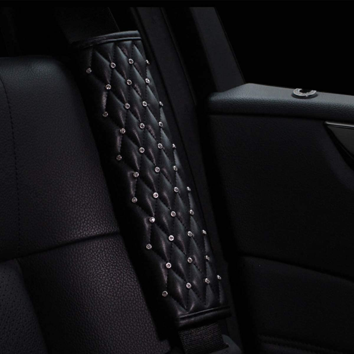 QINU 5pcs//Set Bling Bling Car Seat Belt Covers /& Diamond Gear Shift Knob Cover /& Crystal Handbrake Cover Set Diamond Auto Interior Decor Accessories for Women 5pcs//Set - Full Crystal