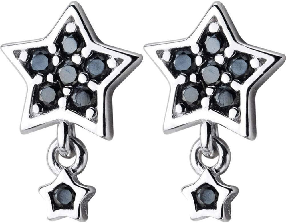 AFDK S925 Pendientes de estrellas de plata Pendientes cortos de estrella de cinco puntas de diamante negro de Han Xiaoqing para mujer Pendientes japoneses, S925 Plata Par, Plata 925