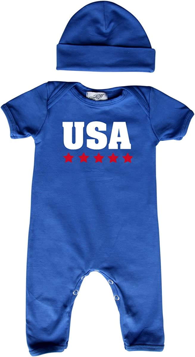 Red White and Blue USA Stars Baby Romper with Matching Hat