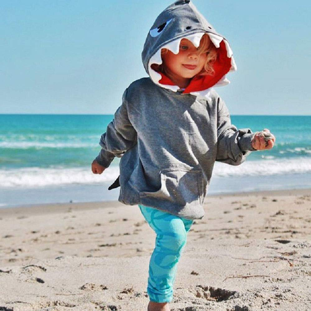 Clearance ! Fheaven Toddler Kids Kids Boys Girls Fall Winter Coat Clothing Long Sleeves Cartoon Shark Hooded Top (3T, Gray) Fheaven (TM)