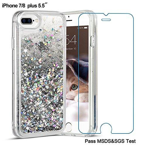 iPhone 8 Plus Case, iPhone 7 Plus Case, Maxdara [Screen Protector] Glitter Liquid Protective Bumper Case Floating Bling Sparkle Quicksand Pretty Fashion Design for Girls Children 5.5 inch (Silver)