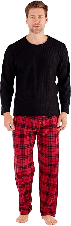 SaneShoppe- Pack de regalo para hombre, pijama, forro polar, pantalón de algodón a cuadros - Rojo - L
