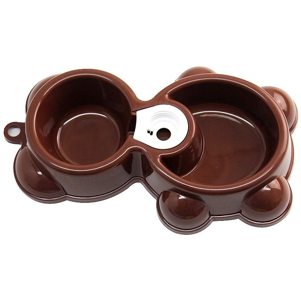 BROWN NYDZDM Puppy Dog Cat Bowl Dish Water Food Feeder Fountain Double Bowl (color   Brown)
