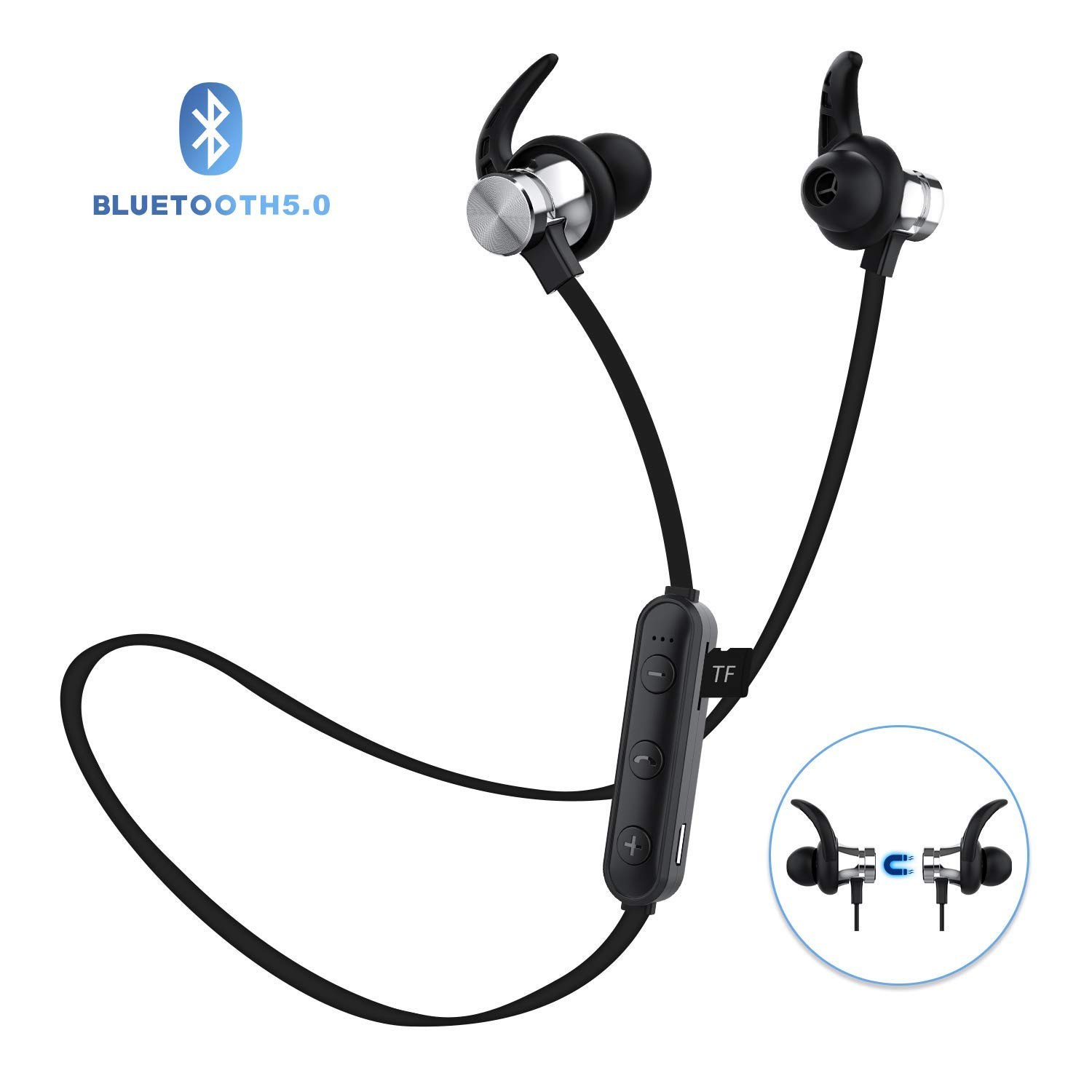 Bluetooth Headphones, ownta Bluetooth 5.0 Wireless Magnetic Earbuds, Snug Fit for Sports with Mic, TF Card Playback Compatible with iPhone iPad Samsung Android Smartphone
