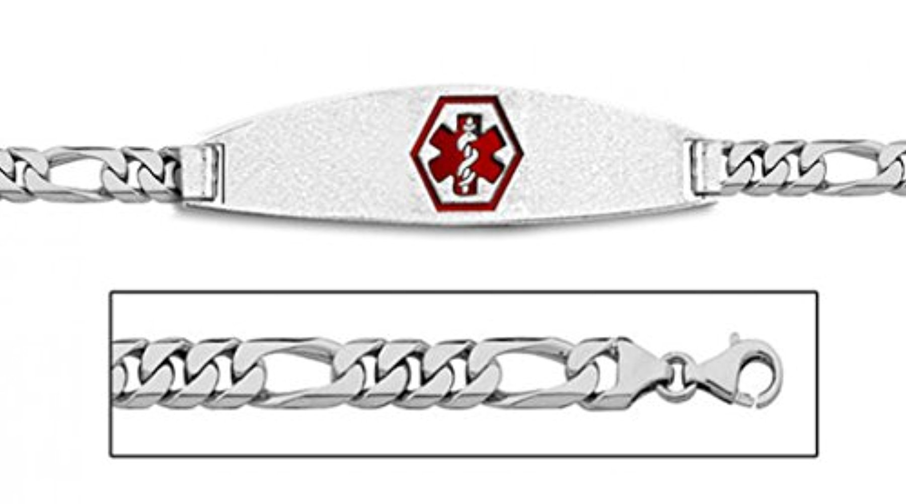 PicturesOnGold.com 14K White Gold Medical ID Bracelet W/Figaro Chain with Enamel - 7 Inch WITH ENGRAVING