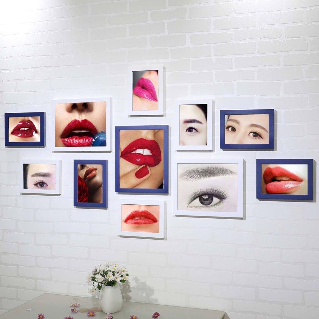 ZGP Home@Wall photo frame Eyebrow Lip Tattoo Photo Wall Combination Korean Semi-permanent Black And White Photo Wall Micro Plastic Beauty Salon Decorative Wall (Color : F)