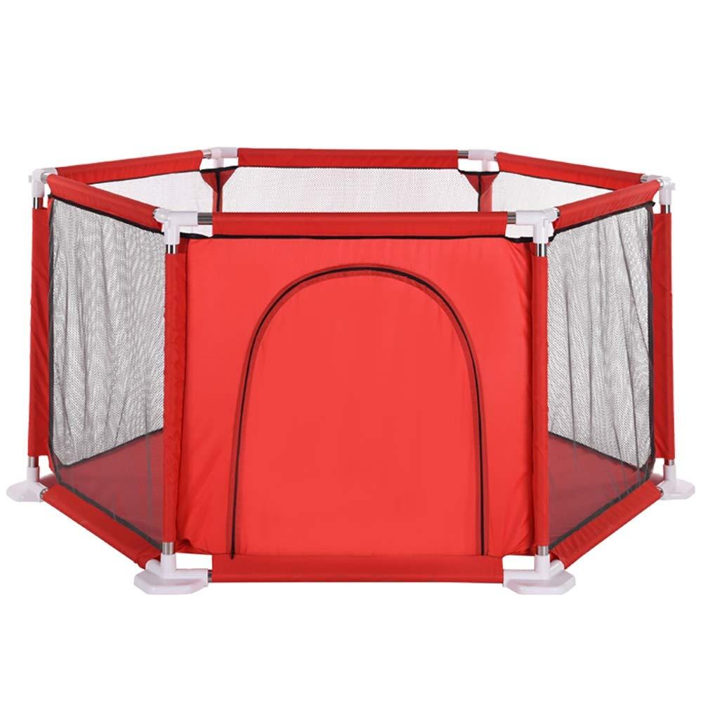 ベビーサークル ホーム幼児安全性高い保護ベビープレイペン、6パネル、ジッパーのドアのためのフェンスを再生する (色 : Red)   B07KZXMGM5
