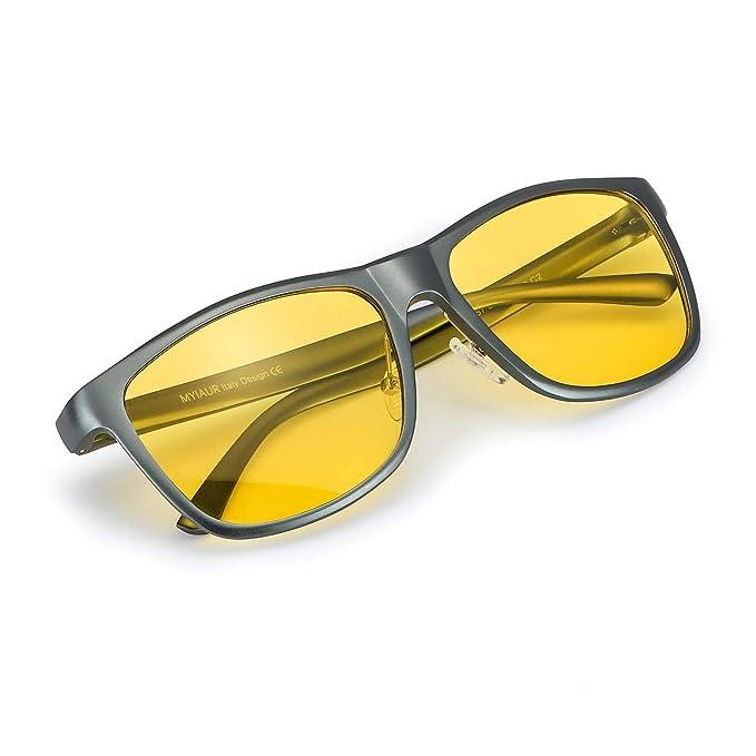 Gafas De Sol Amarillas Conducir Nocturnas para Hombre Polarizadas - Protección UV 400 (Gris,