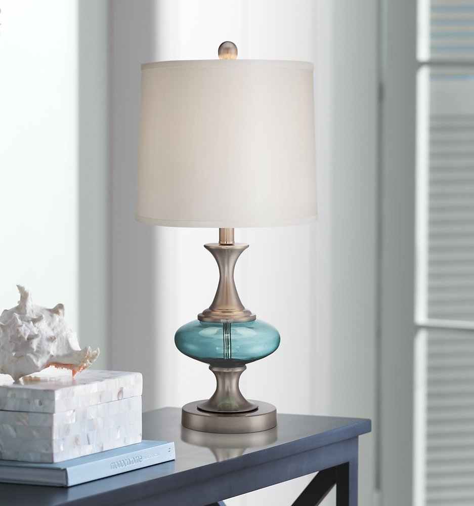 Reiner Brushed Steel and Blue-Green Glass Table Lamp by 360 Lighting (Image #2)