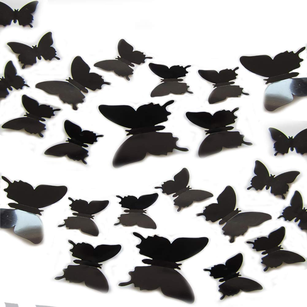 JYPHM 24PCS 3D Butterfly Wall Decal Removable Stickers Decor for Kids Room Decoration Home and Bedroom Mural Black