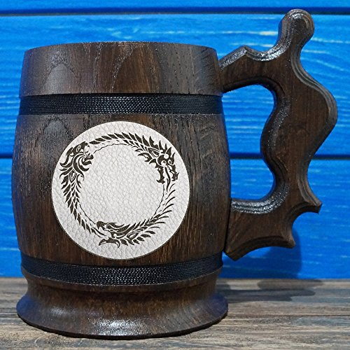 Elder Beer (The Elder Scrolls Online Wooden Beer Mug, The Elder Scrolls Engraved Beer Mug Gift, Oblivion Mug, TES Handmade Wooden Mug, Leather Label, TES03L)