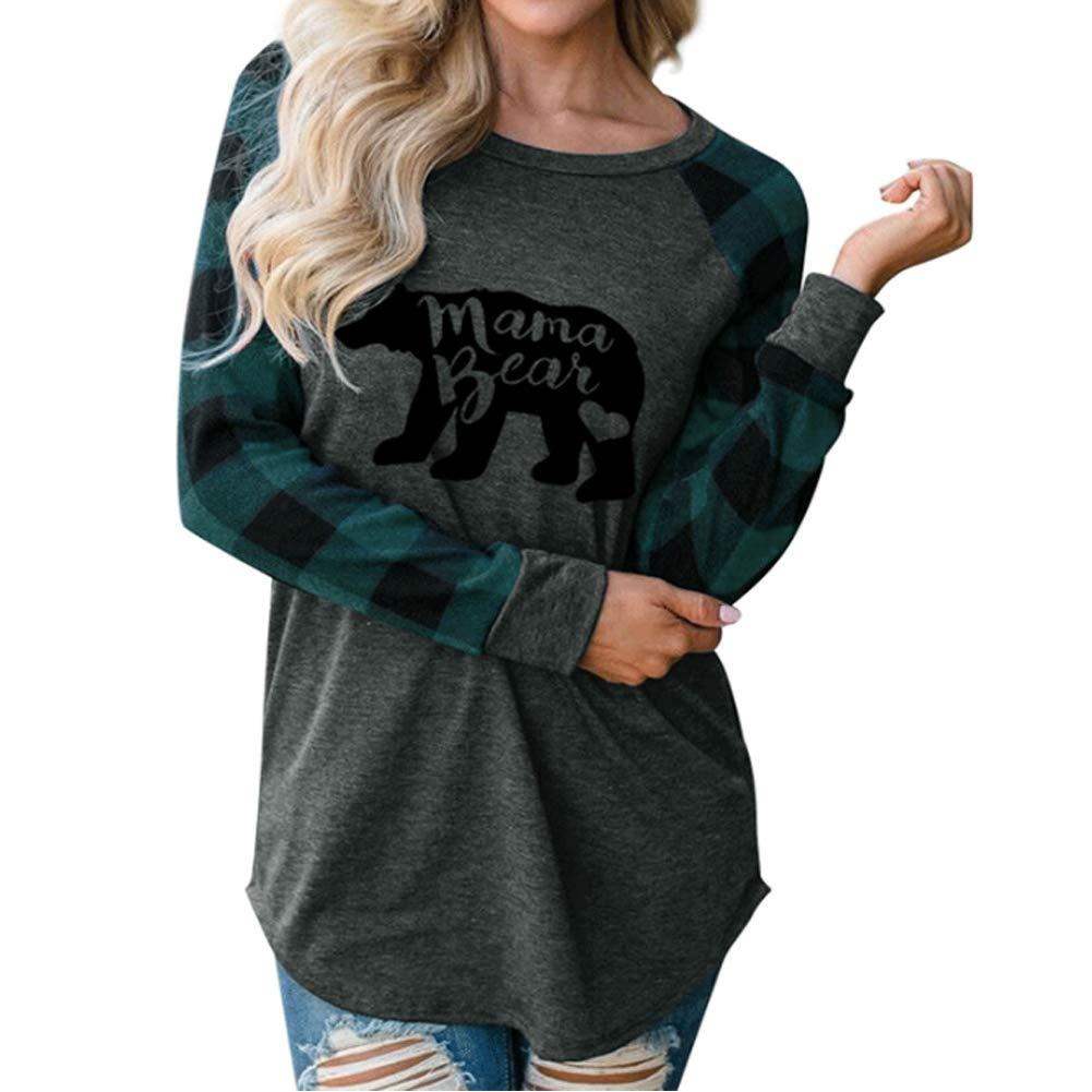 Geicyjiecy Womens Casual Plaid Long Sleeve Letter Print Mama Bear Print Shirt Tops Blouse T-Shirts