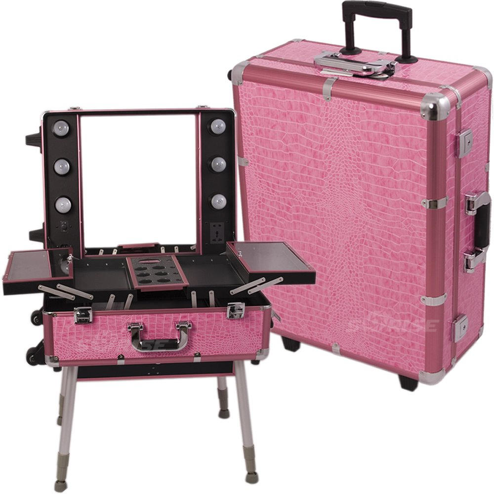 Amazon.com : Sunrise Pink Crocodile Textured Printing Professional Rolling  Studio Makeup Case With Lights, Legs U0026 Mirror   C6010 : Makeup Train Cases  : ...