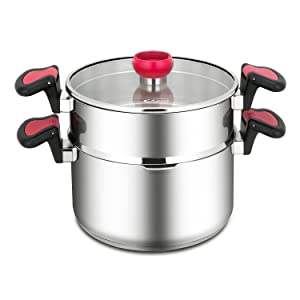 Choiu Tri-ply Stainless Steel Pasta and Steamer Pots Set - 6 Quart Pasta Pot and 4 Quart Steamer with Glass Lid, Multi-functional Design, Induction Stove Safe