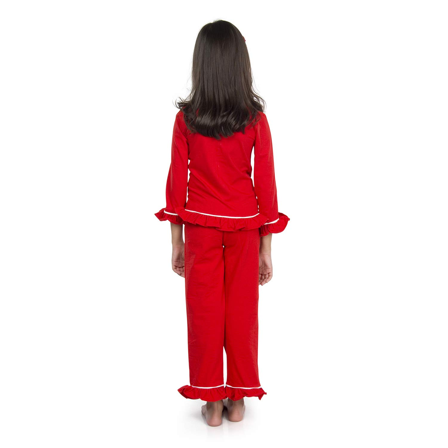 608f096a23 olele® Girls Tomato Red Cotton Night Suit with Pajama Set