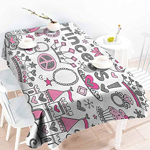 (Homrkey Washable Table Cloth Teen Girls Decor Fairy Tale Princess Tiara Crown Notebook Doodle Design Sketch Illustration Washable Tablecloth W50 xL80)