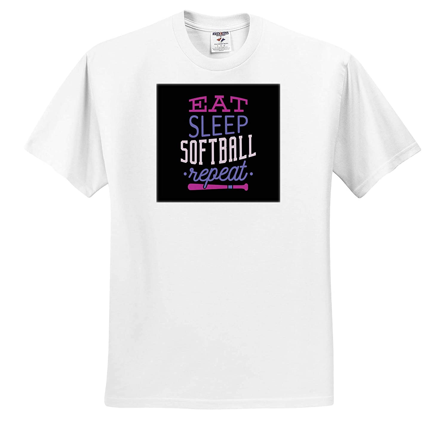 Adult T-Shirt XL ts/_319688 3dRose Sven Herkenrath Sport Eat Sleep Softball Repeat Funny Quotes for Sport Lovers