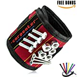 Tools For Men Magnetic Tool Holder - wrist band construction tools for men strong magnets holding for screws nails best gifts for men man dad husband carpenter (6 FREE BONUS) Magnetic Wristband
