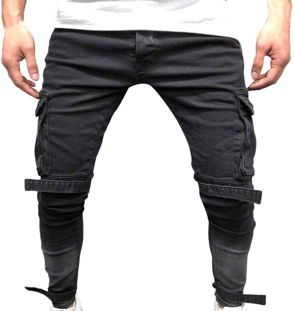 Men/'s Fashion Denim Jean Long Trouser Slim Fit Side Pocket Cargo Pants Ankle Zip