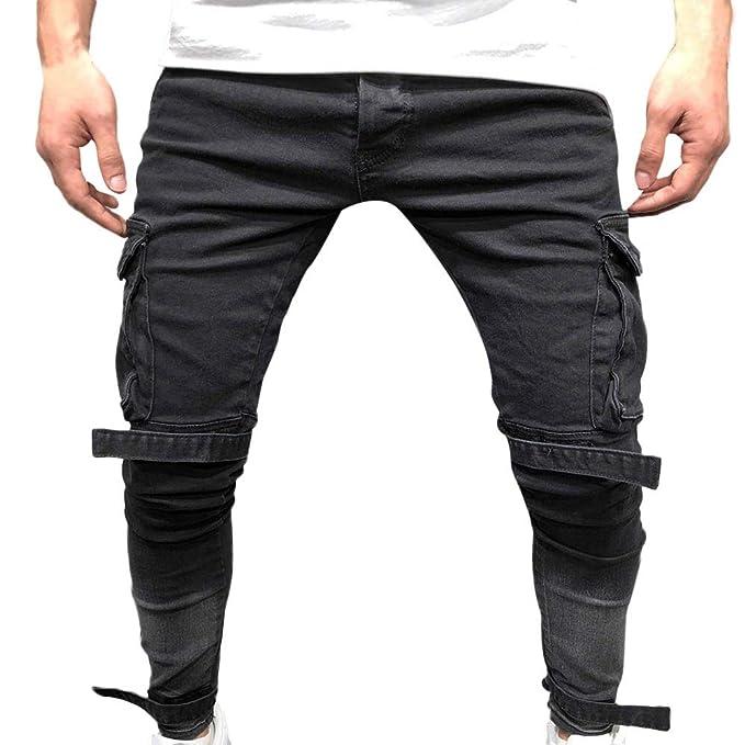 9e156df78424df SOMESUN Uomo Autunno Denim Cotone Pantaloni con Buco Dritto Pantaloni Jeans  Invecchiati Slim Fit Stretti alla Caviglia Elasticizzati Larghi Lavoro  Elegante ...