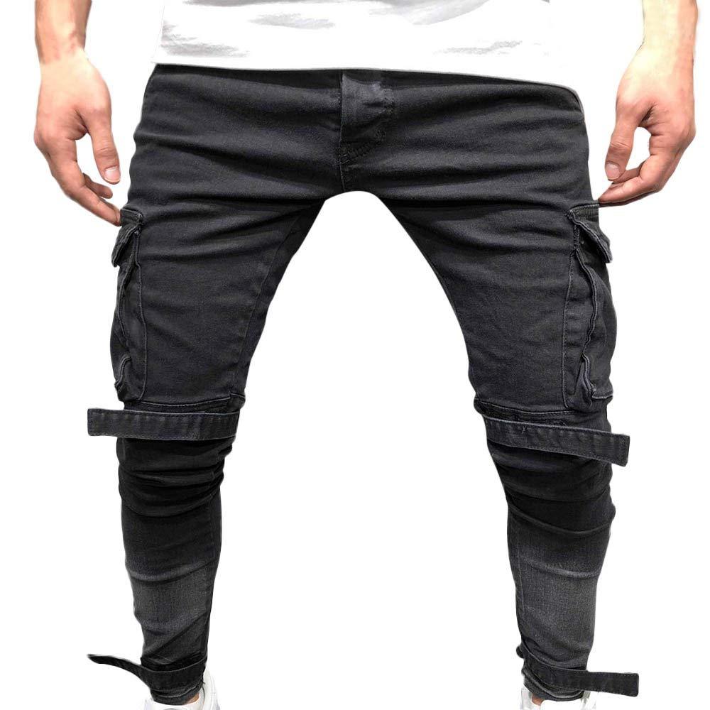 Seaintheson Men's Casual Jeans Pants,Slim Fit Multi-Pocket Cotton Straight Hole Denim Pants Distressed Small Feet Jeans Pants Black